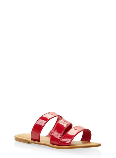 Triple Band Slide Sandals,RED,large