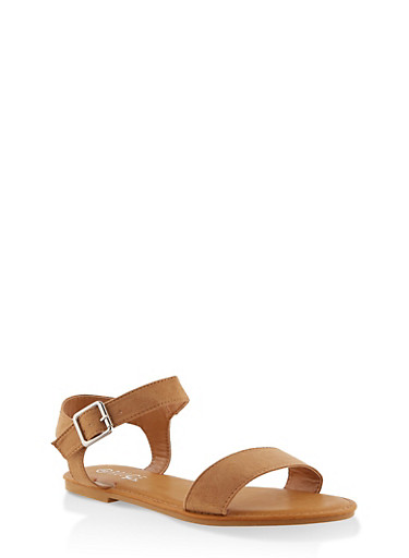 Buckle Ankle Strap Sandals,NATURAL,large