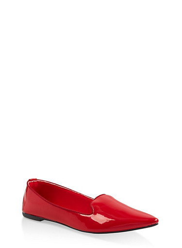Pointed Toe Faux Patent Leather Flats,RED,large
