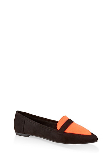 Pointed Toe Flats | 3112004062566,ORANGE,large