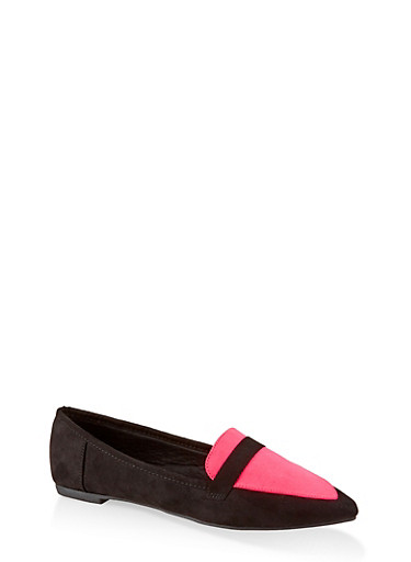 Pointed Toe Flats | 3112004062566,NEON PINK,large