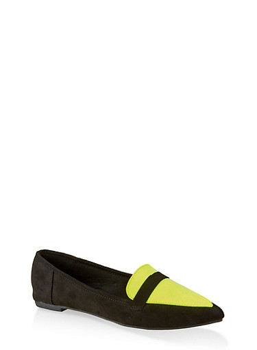 Pointed Toe Flats | 3112004062566,NEON YELLOW,large