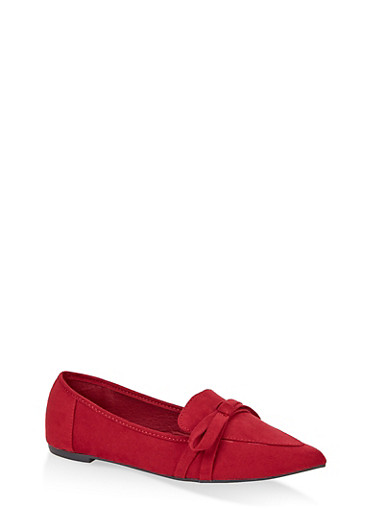 Pointed Toe Bow Flats,WINE,large