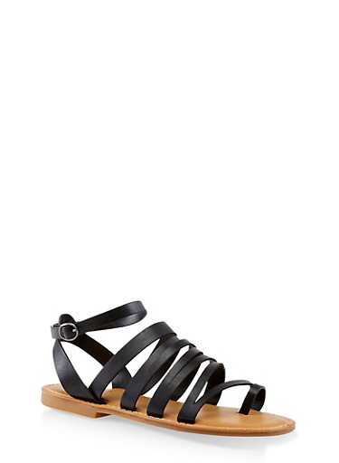 Asymmetrical Strappy Toe Ring Sandals,BLACK,large