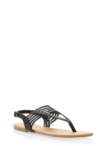 Slingback Thong Sandals,BLACK,large