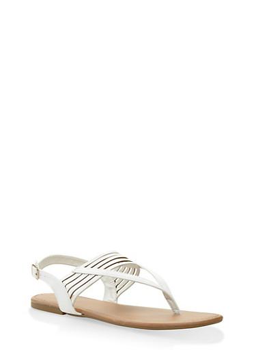Slingback Thong Sandals,WHITE,large