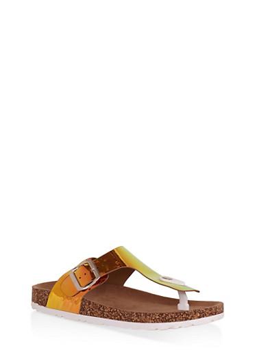 Thong Footbed Slide Sandals,GREEN,large