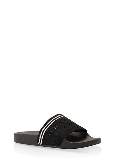 Knit Band Slides,BLACK,large
