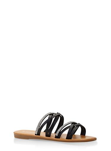 Rhinestone Studded Strappy Slide Sandals,BLACK,large