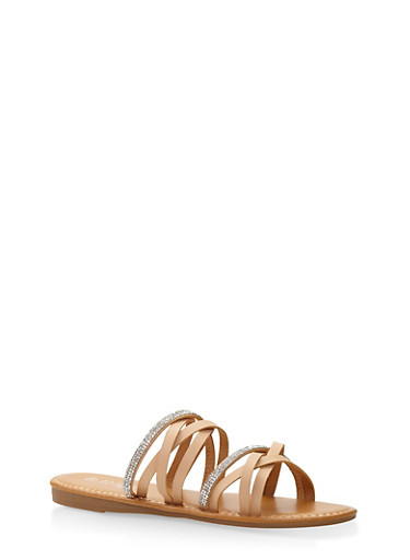 Rhinestone Studded Strappy Slide Sandals | Tuggl
