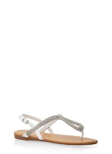 Rhinestone Thong Sandals,WHITE,large