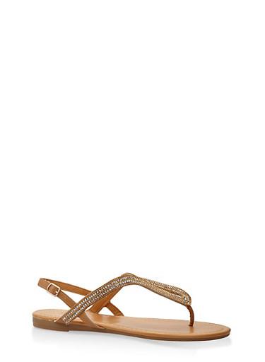 Rhinestone Thong Sandals,TAN,large