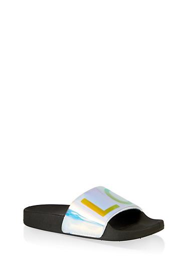 Love Pool Slides,BLACK,large
