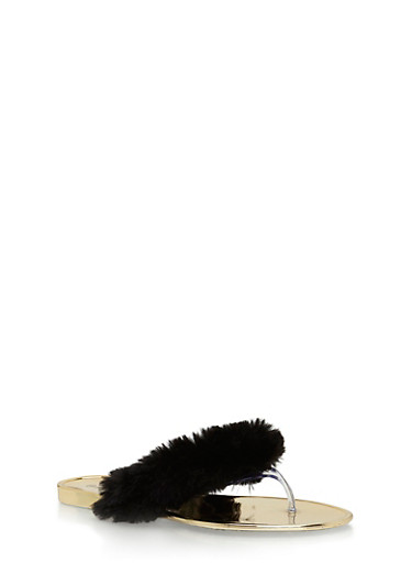 Faux Fur Metallic Thong Sandals,BLACK FUR,large