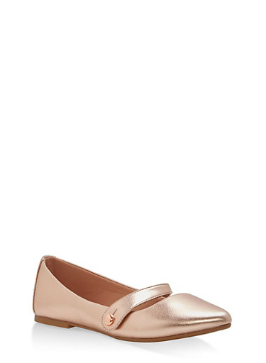 Pointed Toe Strap Ballet Flats,BRONZE,large