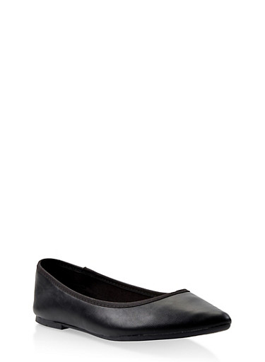 Pointed Ballet Flats,BLACK,large