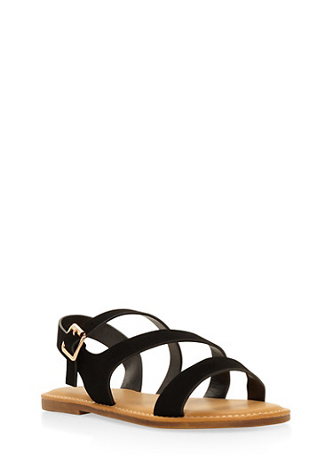 Asymmetrical Strap Sandals,BLACK,large