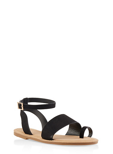Toe Ring Ankle Strap Sandals | 3112004066150,BLACK SUEDE,large