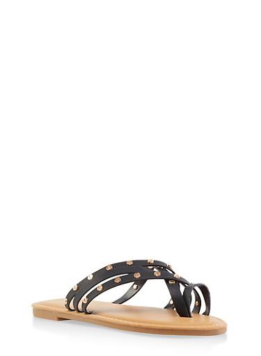 Studded Toe Ring Slide Sandals,BLACK,large