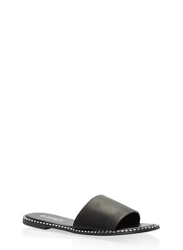 Studded Sole Slide Sandals,BLACK,large