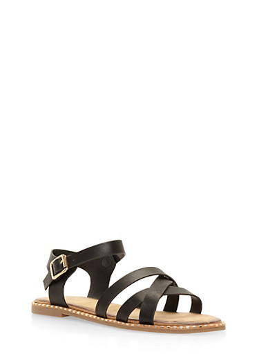 Studded Sole Criss Cross Sandals,BLACK,large