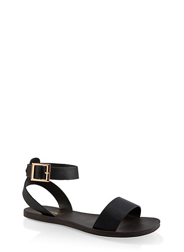 One Band Ankle Strap Sandals,BLACK,large