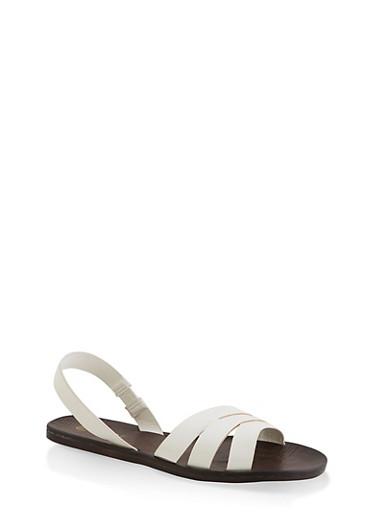 Triple Band Slingback Sandals,WHITE,large