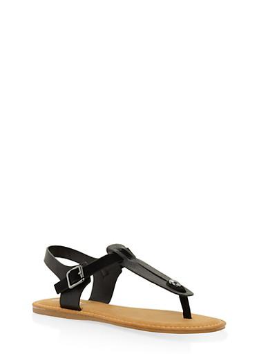 Cut Out Thong Sandals,BLACK,large