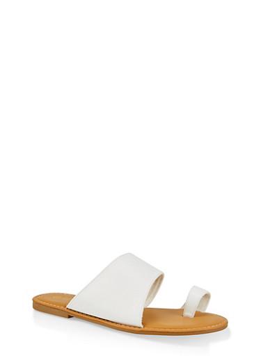 Asymmetrical Toe Ring Slide Sandals,WHITE,large