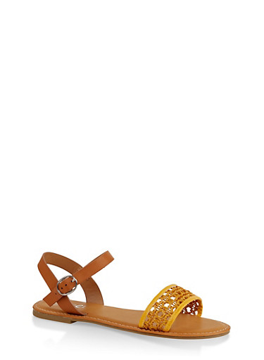 Woven Ankle Strap Sandals,YELLOW,large