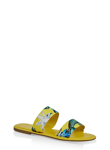 Printed Two Band Slide Sandals,YELLOW,large