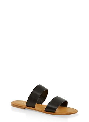 Two Band Slide Sandals   3112004067482,BLACK,large