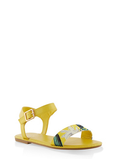 Single Band Ankle Strap Sandals | 3112004067483,YELLOW,large