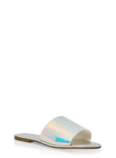 Wide Band Slide Sandals | 3112004067484,SILVER,large