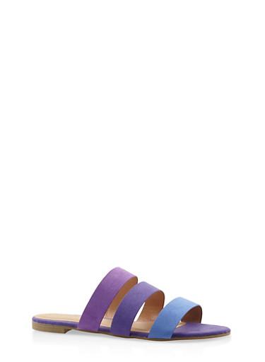 Triple Band Slide Sandals,PURPLE,large