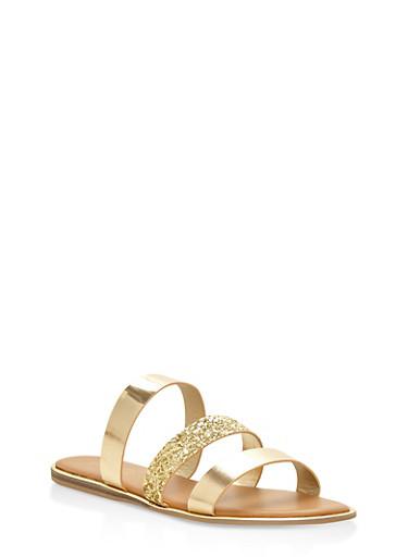 Triple Band Slide Sandals,GOLD,large