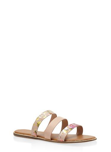 Triple Band Slide Sandals,BLUSH,large