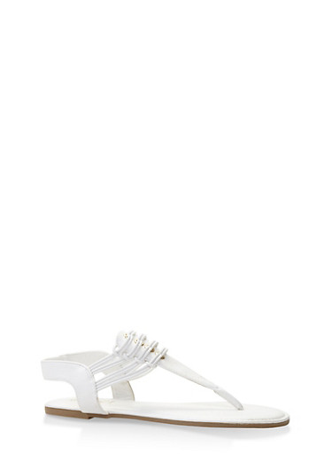 Elastic Thong Sandals,WHITE,large