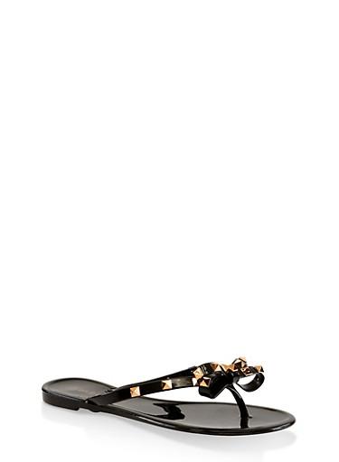 Studded Bow Jelly Flip Flops,BLACK,large