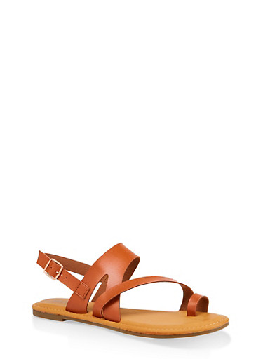 Asymmetrical Toe Ring Sandals | 3112004067893,TAN,large