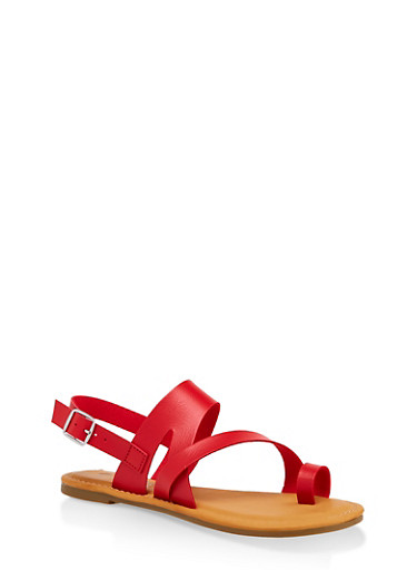 Asymmetrical Toe Ring Sandals | 3112004067893,RED,large