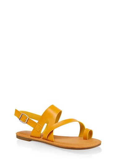 Asymmetrical Toe Ring Sandals | 3112004067893,YELLOW,large