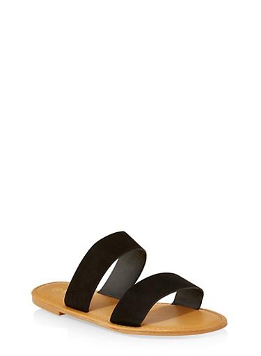 Two Band Slide Sandals | 3112004068345,BLACK SUEDE,large