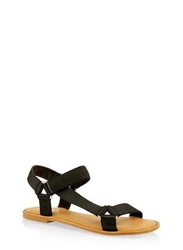Tape Strap Sandals,BLACK,large