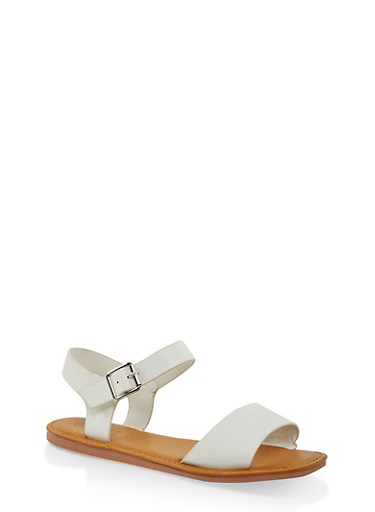 Single Band Ankle Strap Sandals | 3112004068725,WHITE,large