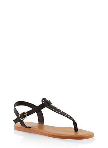 Studded Thong Ankle Strap Sandals,BLACK,large