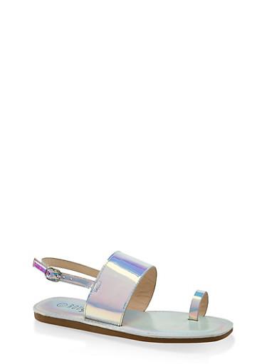 Slingback Toe Loop Sandals,SILVER,large