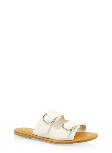Metallic Ring Buckle Slide Sandals,WHITE,large