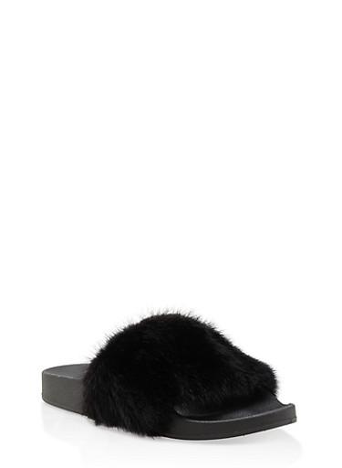 Genuine Mink Fur Slides,BLACK,large