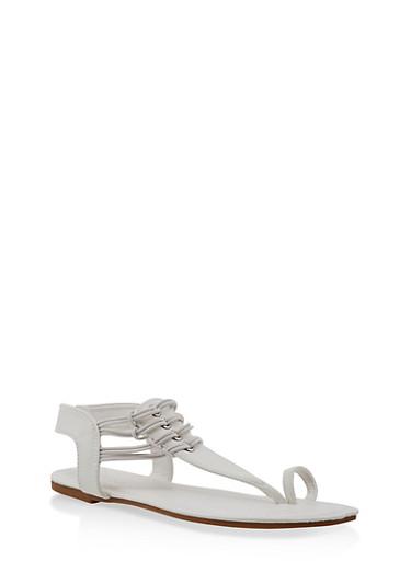 Elastic Strap Toe Ring Thong Sandals,WHITE,large